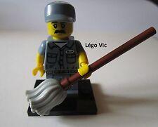 Légo 71011 -9 Minifig Figurine Série 15 Janitor Agent entretien + socle