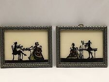 2 Silhouette Pictures of Victorian Couple Playing Music & Eating 3 3/4 x 4 3/4""