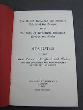 Statutes of the Great Priory of England & Wales 1957 First Impression