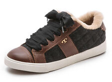 NEW TORY BURCH Oliver Logo Lace-up Shearling Lined Sneakers 7 M Charcoal/Almond
