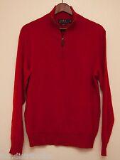 NEW Polo Ralph Lauren Men's Red 100% Cashmere Half Zip Pull Over Sweater M