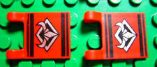 LEGOS  -  Set of 2 Flags 2 x 2 Square with Silver Bull's Head Pattern  RED