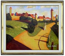 Framed, Wassily Kandinsky Old Town Repro, Hand Painted Oil Painting 20x24in
