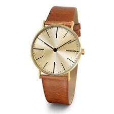 "Lambretta ""Cesare Gold Cognac Cream"" Acier Inox IP Or Cuir Marron Homme Montre"