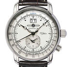 ZEPPELIN 7640-1 100 YEARS ZEPPELIN SILVER DIAL STEEL 42MM DUAL-TIME BIG-DATE NEW