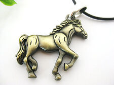 Stainless Steel New Cool Gold Horse Unisex Pendant Leather Necklace Jewelry