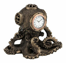 Nautical Steampunk Octopus Diving Bell Clock Statue Sculpture  - New in Box