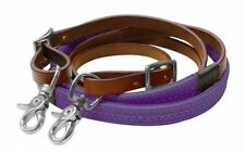 Leather Roping Barrel Racing Reins Rubber grip Adjustable W Snaps Horse PURPLE