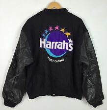 VTG GOLDEN BEAR USA VARSITY HARRAHS JOLIET CASINO LEATHER LETTERMAN JACKET UK XL