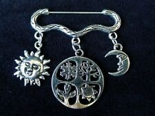 Seasons Of the Year Wiccan Brooch wicca pagan cloak clasp sun moon wheel yule