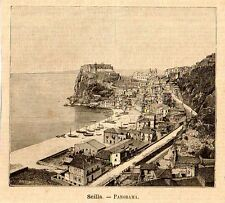 Stampa antica SCILLA Veduta Panoramica Stretto di Messina 1891 Old print
