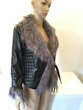 New NWT Jacket Quilted Faux Leather W/ Faux Fur Trim Gray & Black Women's M
