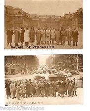 Vintage 1930s/1940s Set of 2 Paris, France Sepia Postcards Group Picture