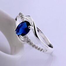 sterling Silver Fashion Wedding Party lady Cute women Crystal Blue Rings Jewelry