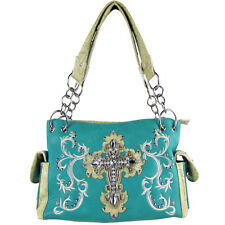 TURQUOISE RHINESTONE CROSS LOOK SHOULDER HANDBAG CONCEALED CARRY BLING PURSE NEW