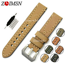 Watch Band Strap THICK Yellow Genuine Leather Stainless Steel Buckle Mens 22mm