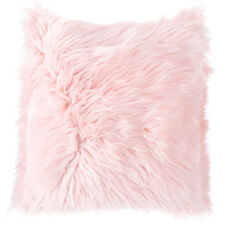 Pink Faux Fur Pillow Throw 18 X 18 Fluffy Ultra Soft Decorative