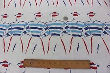 "French Sailor Boys Conversational Vintage Cotton Yardage c1948~3yds30""L X 35""W~"