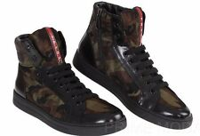 NEW PRADA  BLACK LEATHER CAMOUFLAGE  LOGO HIGH TOP SNEAKERS CASUAL SHOES 7.5/8.5