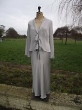 KALEIDOSCOPE Special Occasion Silver Long Dress & Jacket Suit Size 12 - 14 BNWT