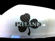 Ireland Irish Shamrock Car Sticker Wing Mirror Decals (Set of 2), Black Carbon