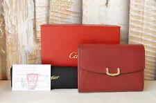 $485 Auth CARTIER Red Leather Gold C De Cartier Wallet Small Women's SALE!!