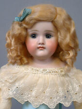 """Pouty Closed-Mouth Kestner 18"""" on Original Body in Lacy Dress -- Just the Cutest"""
