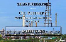 """Train Junkies HO Scale """"Oil Refinery""""  Backdrop 18X120"""" C-10 Mint-Brand New"""