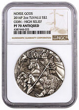 2016-P Tuvalu 2 oz Antiqued High Relief Silver Norse Gods Odin NGC PF70 SKU40789