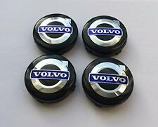 Set of 4 Wheel Center Caps VOLVO Black & Blue Logo 64mm XC C70 S40 V50 S60 V60 V