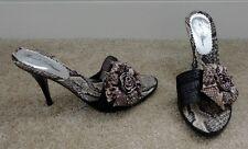 BEVERLY FELDMAN Black & Brown Leather Python Snakeskin Slides Sandals 9B NEW!