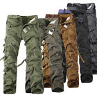 Wearable Men Military Cargo Camo Combating Work Pants Leisure Trousers No Belt