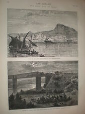 View of Alicante Spain 1873 old print