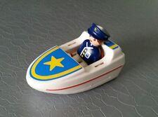 Playmobil 123  : bateau de police blanc et bleu avec personnage policier