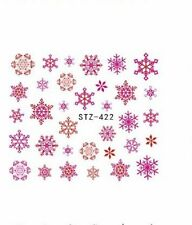 Nail Art Water Decals Stickers Christmas Pink Orange Snowflakes Gel Polish 422P
