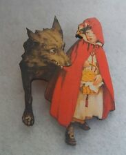 Red Riding Hood & Wolf Brooch or Scarf Pin Accessories, Fashion, Jewelry Wood