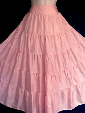 LAURA ASHLEY ROSE PINK SILK ROMANTIC BOHEMIAN GYPSY STYLE TIERED MAXI SKIRT, 14