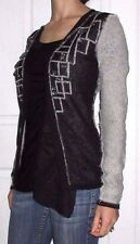 New Womens Small BKE Boutique Black Gray Marled Crystal Detail Cardigan Sweater