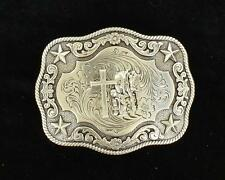 Nocona Western Mens Belt Buckle Rectangle Rope Edge Trim Praying Cowboy 3798659