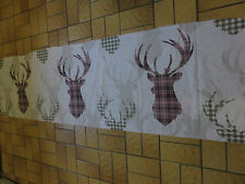 Stags deer tartan check mauve pink green beige sewing remnant fabric piece