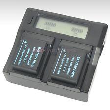 LCD AC Charger +2x Battery for Panasonic DMW-BLC12 DMC-G5 DMC-FZ200 Lumix Camera