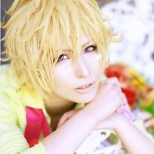 Karneval Yogi Anime Golden Blonde Short Layered Curly Party Cosplay+Free Wig Cap