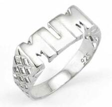 STERLING SILVER SOLID PLAIN BLOCK MUM MUMMY MOTHER RING BASKET BAND GIFT BOXED