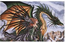 Nene Thomas Fantasy Art Print Absinthe Green Dragon Fairy Faery Black Wings 5x7""