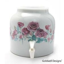 Goldwell Designs® Red Rose Garden Porcelain Water Dispenser Crock (DD370)