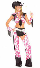 Sexy Pink Black Cowgirl Costume Chaps Fringe Hat Western Top Women's Fancy Dress