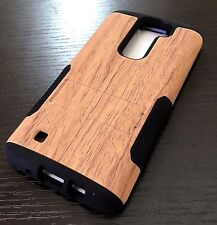 For LG K7 / Tribute 5 - Hard&Soft Hybrid High Impact Armor Case Cover Brown Wood