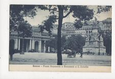 Genova Piazza Acquverde e Monumento a C Colombo Vintage Postcard Italy 442a
