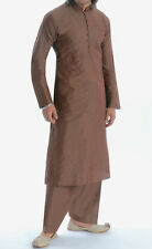 Men's Banarsi Brown Kurta Salwar Suit, Sequence All over & Aari Work, XXXL/44-46