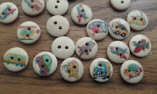 Job Lot Wholesale 100 15mm Round  Car Plane Train Boat Truck Vehicle Buttons